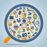 Spy concept loupe icon Stock Photography