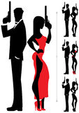 Spy Couple 2. Silhouettes of spy couple over white background. Four versions differing by the outfit of the female Stock Photography