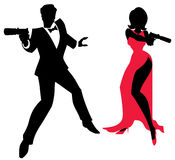 Spy Couple. Silhouettes of spy couple over white background. No transparency and gradients used royalty free illustration