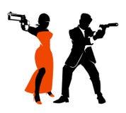 Spy couple vector set Royalty Free Stock Photo