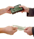 Spy Deal. Two men making a deal isolated at the white background stock images
