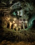 Spy Eye. Complex surreal painting. Giant eye with keyhole. Human elements were created with 3D software and are not from any actual human likenesses Royalty Free Stock Image