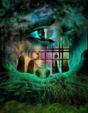 Spy Eye. Complex surreal painting. Giant eye with keyhole Stock Images