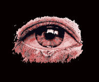 Spy eye. Eye looking trough a hole - black background Stock Photo