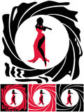 Spy Female. Silhouette of female secret agent. Illustration is in 4 versions. No transparency and gradients used Royalty Free Stock Image