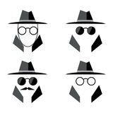 Spy flat icon set. Incognito icon logo. Eyeglasses and hat icon. Man in suit Stock Photos