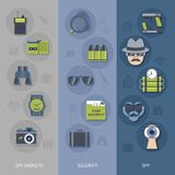 Spy gadgets banners set Stock Photography