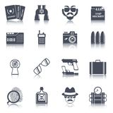 Spy gadgets black icons set Stock Images