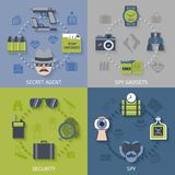 Spy gadgets 4 flat icons composition Stock Images