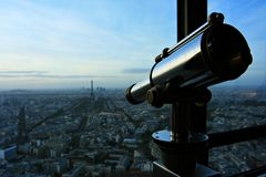 Spy-glass. A view from the Montparnasse Tower in Paris, France Royalty Free Stock Images