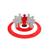 Spy. Group of people and one is in red color Stock Images