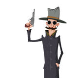 Spy with gun. Vector cartoon image of a spy in dark coat and sunglasses with gun in his hand Stock Photography