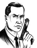 Spy with a guy. Retro styled ink drawing of a male character with a gun Stock Photography