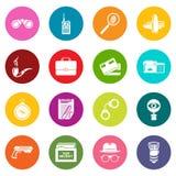 Spy icons set colorful circles vector. Spy icons set vector colorful circles isolated on white background Stock Photos