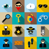 Spy icons set, flat style. Spy icons set in flat style for any design Royalty Free Stock Photos