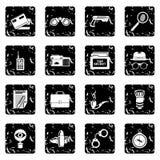 Spy icons set grunge vector. Spy icons set vector grunge isolated on white background Stock Images