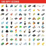 100 spy icons set, isometric 3d style. 100 spy icons set in isometric 3d style for any design illustration stock illustration