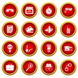 Spy icons set, simple style. Spy icons set secret investigation. Simple illustration of 16 spy vector icons for web Stock Photography