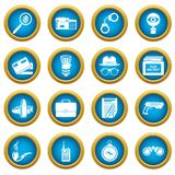 Spy icons set, simple style. Spy icons set secret investigation. Simple illustration of 16 spy vector icons for web Royalty Free Stock Photography
