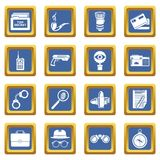 Spy icons set blue square vector. Spy icons set vector blue square isolated on white background Stock Photography