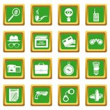 Spy icons set green square vector. Spy icons set vector green square isolated on white background Royalty Free Stock Photo