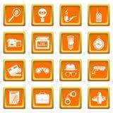 Spy icons set orange square vector. Spy icons set vector orange square isolated on white background Royalty Free Stock Images