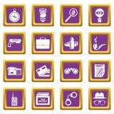 Spy icons set purple square vector. Spy icons set vector purple square isolated on white background Royalty Free Stock Photos