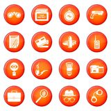 Spy icons set red vector. Spy icons set vector red circle isolated on white background Stock Images