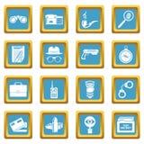 Spy icons set sapphirine square vector. Spy icons set vector sapphirine square isolated on white background Stock Images