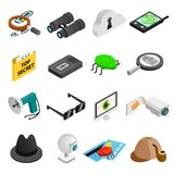 Spy isometric 3d icons. Set isolated on white background vector illustration