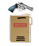 Spy items. Classified files and revolver,  and grouped objects over white background Royalty Free Stock Photo