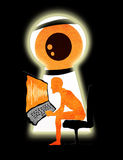 Spy. Through the keyhole digital illustration stock illustration