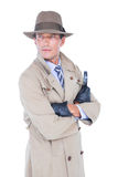 Spy looking through magnifier Royalty Free Stock Images