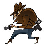 Spy. Or paparazzi sneaks with photo cameras stock illustration