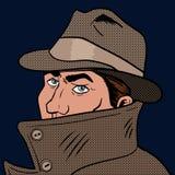 Spy pop art hand drawn vector illustration Stock Photo