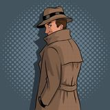 Spy in raincoat and hat pop art vector. Spy in raincoat and hat pop art retro vector illustration. Comic book style imitation Royalty Free Stock Images