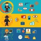 Spy, secret agent and cyber hacker characters. Spy, secret agent and cyber hacker with characteristic objects and their accessories. Vector illustration vector illustration