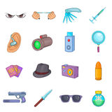 Spy and security icons set, cartoon style Royalty Free Stock Photo