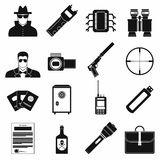 Spy simple icons. Set on white background vector illustration