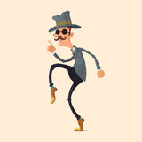 Spy sneaking on tiptoe. Spy in fedora hat and sunglasses sneaking on tiptoe stock illustration