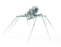 Spy spider. Dangerous insect - metallic cyber spider isolated on white Stock Image