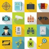Spy tools icons set, flat style Stock Photography