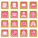 Spy tools icons pink Royalty Free Stock Image
