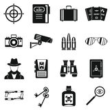 Spy tools icons set, simple style Stock Photography