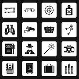 Spy tools icons set squares vector Royalty Free Stock Photos