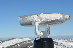 Spy viewing machine, close up. Spy viewing machine on the top of the mountain, winter conditions, close up view Royalty Free Stock Photography