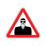 Spy Warning sign red. Secret Agent Hazard attention symbol. Dang Royalty Free Stock Photo