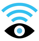 Spy WiFi icon. Vector sign of eye with wireless signal isolated on white background Stock Photo