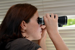 Spy Woman. Young woman (age 25-30 ) searching with binoculars and  looks out through blinds. Concept photo of curious, spy, nosy woman Stock Image