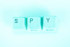 Spy word written with computer buttons Stock Image
